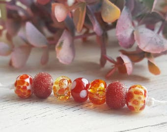 Red Bead Mix - Bead Set - Patterned Bead Set - Patterned Beads - Handmade Glass Beads - Lampwork Glass - Glass Beads for Jewellery Making
