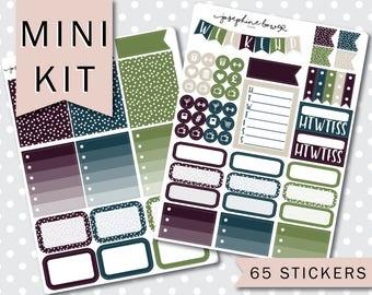 MINI KIT Pretty Planner stickers Weekly Kit 2 Sheets - Aubergine / petrol / sage