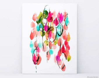 Drops of Light, bright color poster, abstract art, watercolor print, colorful poster, red painting, modern abstract, minimalist print