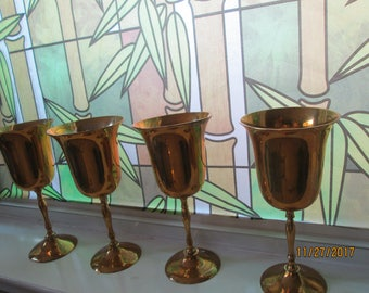 Set of 4 glorious brass goblets, 7.5 inches tall
