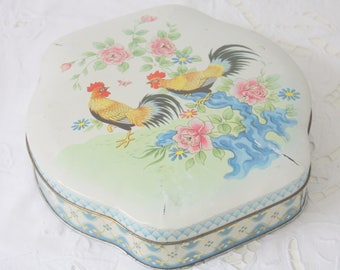 Darling Vintage Tin with Brewster and Flower Decor