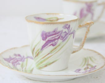 Lovely Antique J R Limoges Porcelain Demitasse Cup and Saucer, Handpainted Fleur de Lis Decor, France