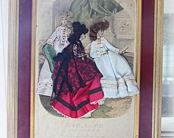 Antique Large French Fashion Diorama, Victorian Fashion Shadow Box, Fashion Illustration in Gilded Wooden Frame, Victorian Era Clothing