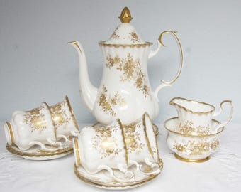Hard to Find Vintage Royal Albert Bone China 'Antoinette' Coffee Service, Regular Size 4 Person's Coffee Set, England