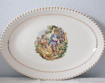 Vintage Large Oval Serving Plate, Francois Boucher Decor, France