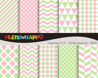 70% OFF Pale Green And Pink Digital Papers, Chevron/Polka Dot/Wave/Stripe Graphics, Personal & Small Commercial Use, Instant Download