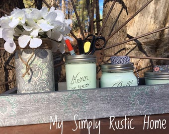 Table Decor-Planter Box-New Home Gift-Wedding Decor-Farmhouse Decor-Spring  Decor-Mason Jar Centerpiece-flower Arrangement-Rustic Home Decor