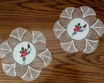Rose Cross Stitch Center Crochet Doilies