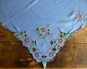 Partially Completed Vintage Linen Embroidered Cut Work Tablecloth 90x104cm