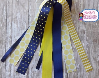 Yellow and Blue Ponytail Streamers,Navy Blue and Yellow Streamers,Yellow and Navy Blue Ponytail Streamers,Softball Streamers,Softball