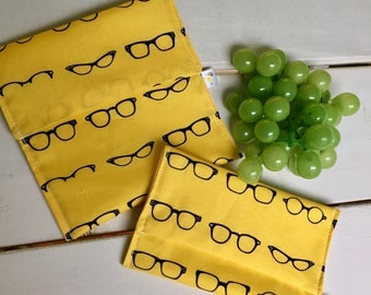 Glasses DUO a flap, waterproof, washable and reusable sandwich and snack bag