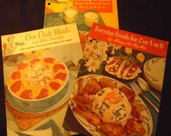 1950s Advertising Cookbooks Mary Lee Taylor Pet Milk Booklets One Dish Meals Everyday Foods So Easy to Make For 2 4 or 6 Mid Century Cooking