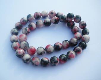 Perles de Pierre Fil 39cm 50pc env Jade Boules 8mm Gris souris