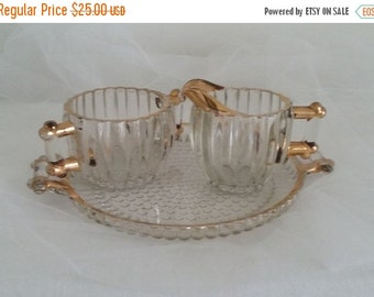 ON SALE Jeannette Glass National Sugar & Creamer Set with Underplate Clear Gold Trim