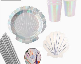 Mermaid PARTY in a BOX KIT, Party Kit, Party supplies, Party in a box, Party Decor Kit, Seashell Plates, Under the sea Party, Mermaid Party