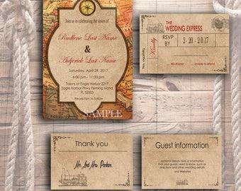 Travel inspired theme Printable Wedding Invitation Template - Vintage travel themed DIY Invitation Template Set - Printable wedding invites