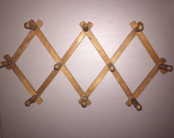 Vintage Wood Expandable Folding 10 Peg Wall Hanger Accordion Rack Coat Hat Mug