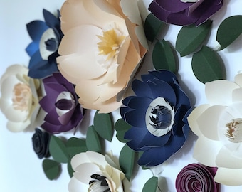 Navy Blue Paper flower navy blue decor navy blue flower wall baby nursery girl decor bedroom wedding decor bridal shower flower backdrop
