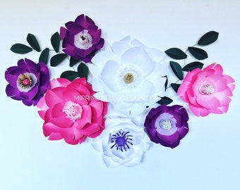 Paper flowers wall decor large purple flower wall baby nursery white floral decor bright pink  giant paper flower party backdrop plum purple