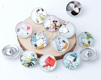 1 lot 10 buttons pressure 18mm snoopy