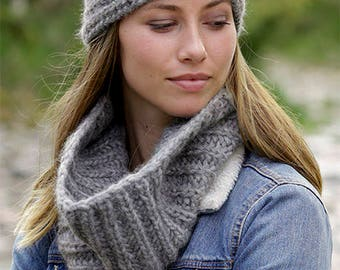 Hand Knitted  set neck warmer and head and, Alpaca, Wool, Polyamid, gift for her