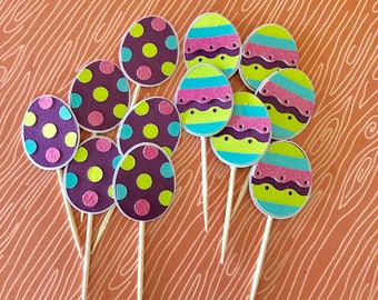 Easter Egg Cupcake Toppers • Easter Party • Easter Picnic • Bright Colored Eggs • Party Picks •