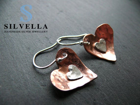 Mixed Metal Hammered Heart Earrings - Copper & Sterling Silver Heart Earrings - Handmade in Wales - Gift For Her