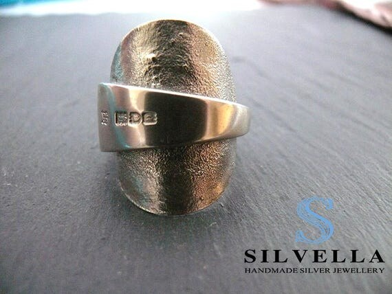 Sterling Silver Spoon Ring - Reticulated Textured Ring - Hallmarked London 1910 - Handmade in Wales - Silvella Jewellery