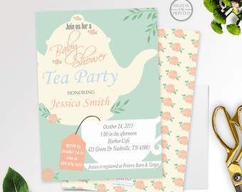 tea party baby shower invitation  etsy, invitation samples