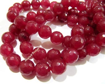 AAA Quality Ruby Jade Beads , Round faceted Beads 8 mm , Sold Per Strand of 15 Inches Long , 40-45 Beads Approximately , Hole Size 1 mm.