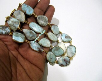 1 FOOT- Best Quality Natural Larimar Free Shape Connector Chain , Uneven Smooth Larimar Bezel Connector Chain approximately 15 to 25mm Stone