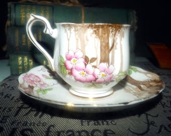 Quite vintage (c. early 1930s) Royal Albert Crown China hand-painted tea set (footed cup with matching saucer). Pink prairie roses, trees