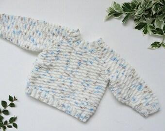 Cream Baby Sweater - Hand Knit Baby Jumper - 3-6 Months