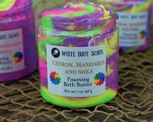 Rainbow Whipped Soap/Foaming Bath Butter/Cream Cleanser/Neon Rainbow/White Buoy Soaps