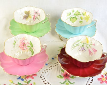 4 Shelley cup and saucer, Shelley tea cup set