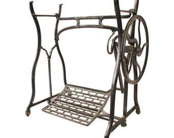 Antique CAST IRON Treadle Base table vintage sewing machine black metal industrial stand man cave architectural Wheeler & Wilson stand loft
