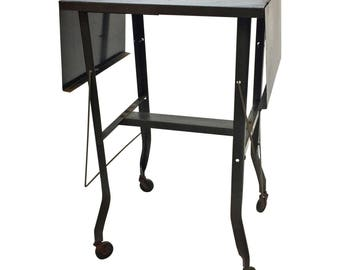 Vintage INDUSTRIAL TYPEWRITER TABLE drop leaf metal mid century plant stand steampunk loft stand green architectural salvage double 17165