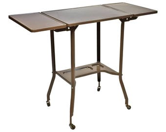 Vintage INDUSTRIAL TYPEWRITER TABLE drop leaf metal mid century plant stand steampunk loft stand gray architectural salvage double toledo
