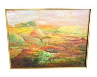 Vintage OIL PAINTING Orange Landscape mid century modern signed sofa size framed listed artist Lucille Cohn New York hills