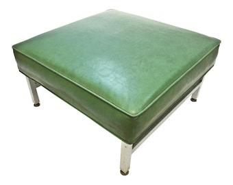Mid Century Modern FOOT STOOL vinyl metal bench ottoman Thonet steel 50s/60s retro vintage MOD green mcm living room space age naugahyde