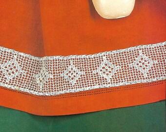 "Crochet Pattern For Diamond Design Trim or Edging - PDF Instant Pattern Download - 2 1/2"" wide - Filet Trim"