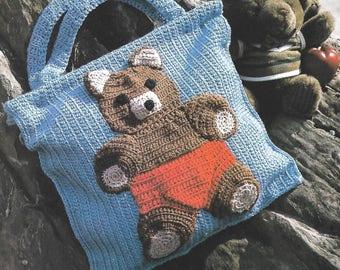 Cute Teddy Bear Tote Crochet Pattern - PDF Instant Pattern Download -