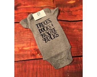 Baby Boy Trucks, Ducks and Big Ole Bucks Onesie!