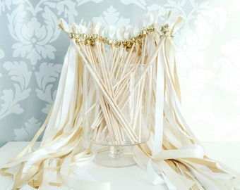 READY TO SHIP 50 Wedding Wands Ivory, White & Gold Shimmer, Wedding Send Off Streamers, Ribbon Wands, Double Ribbon Wedding Wands With Bells
