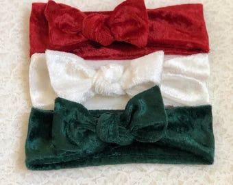 Velvet Baby Girl Headband, Christmas Baby Headband, Baby Headwrap, Baby Bows, Baby Turban Headband, Baby Girl Headwrap