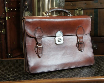 English Vintage Leather Lawyers Executive Briefcase
