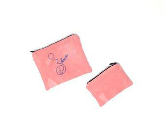 Zipper Pouch Set - pink Zipper Pouch Set - Pregnancy Gift - Midwife Gift - Doula Gift