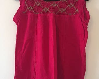 Traditional Mexican  fucsia with detail  Blouse of Manta