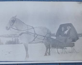 1800's Early 1900's Antique Vintage Real Picture Postcard RPPC Horse Drawn Sleigh Wagon Winter Christmas Snow