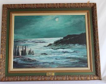Vintage Original Oil Painting Coastal By Helen Langford